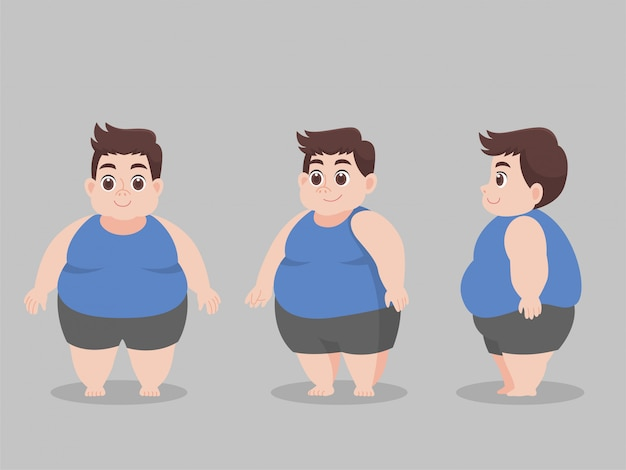 Character big fat man for lose weight lifestyle health care
