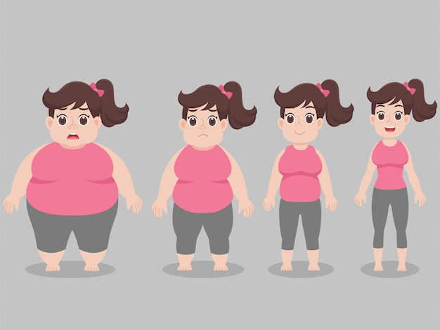 Character big fat woman for lose weight lifestyle health care