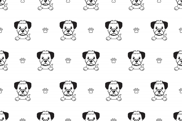 Character border terrier dog seamless pattern