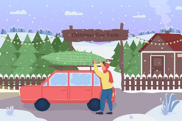 캐릭터는 시장 플랫 컬러에서 크리스마스 트리를 구입했습니다. 휴일 전통. 당신의 owm 상록수 상징을 수확하십시오. 배경에 크리스마스 트리 농장 행복한 사람 2d 만화 캐릭터