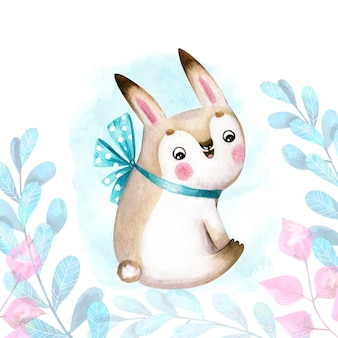 Character bunny with bow and leaves on background