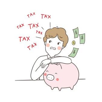 캐릭터 사업가 세금을 지불 걱정
