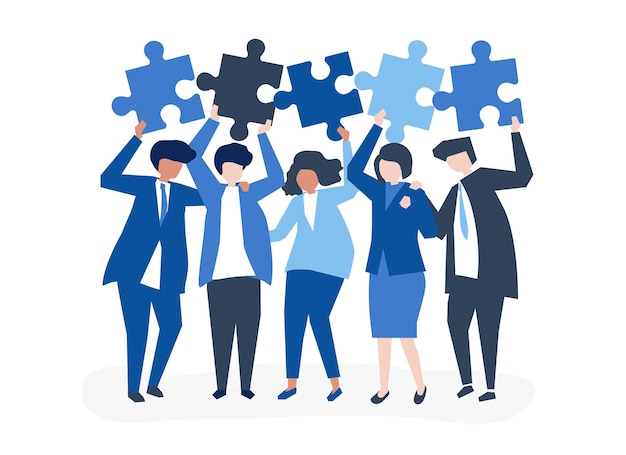 Character of business people holding puzzle pieces