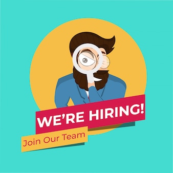 Character of businessman searching for join our team