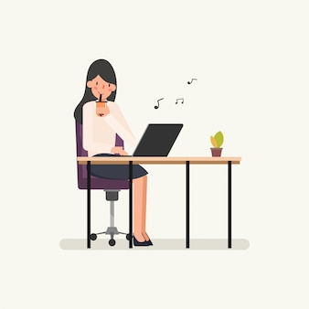 Character of businesswoman have relaxing.
