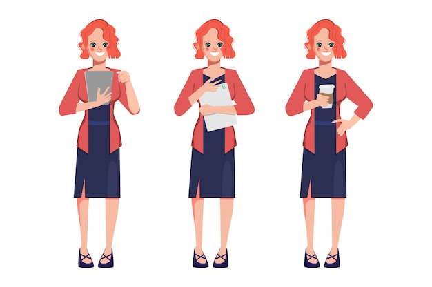 Character businesswoman pose set