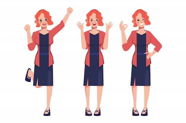 Character businesswoman pose set. Premium Vector