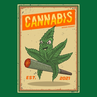 Character cannabis riding a cigarette