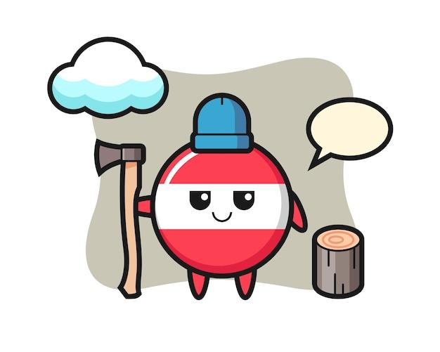 Character cartoon of austria flag badge as a woodcutter