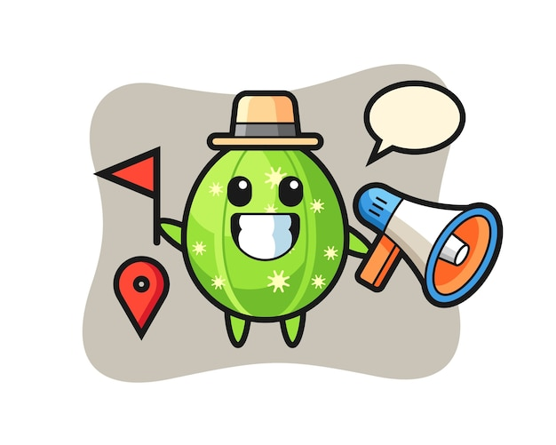 Character cartoon of cactus as a tour guide