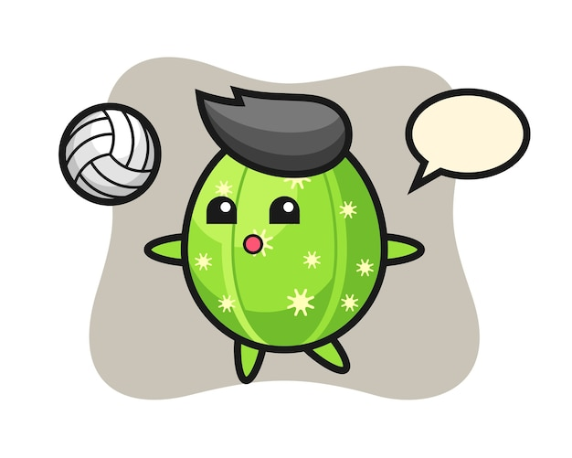 Character cartoon of cactus is playing volleyball