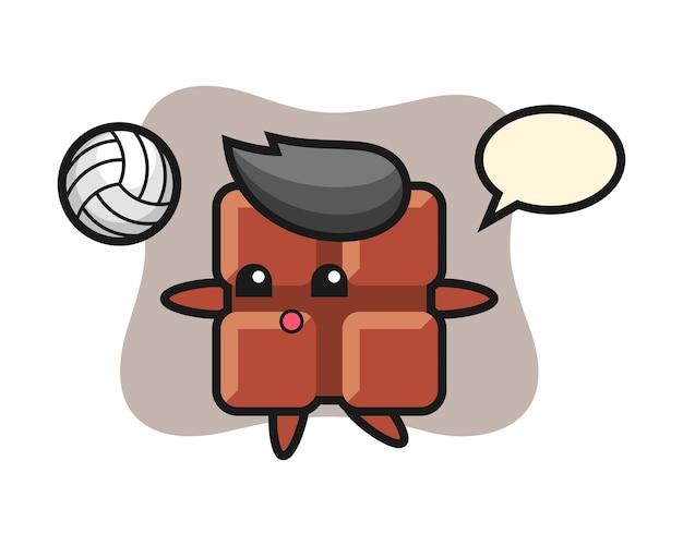 Character cartoon of chocolate bar is playing volleyball, cute kawaii style.