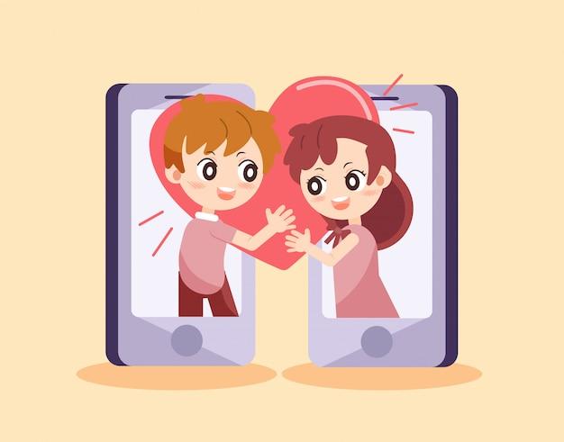 Character cartoon couple of love