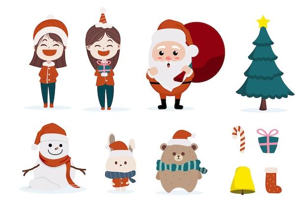 キャラクター漫画かわいいクリスマスの日コレクションセット、メリークリスマス新年あけましておめでとうございます、サンタの子供と動物、クリスマスツリースノーフレークウサギクマ