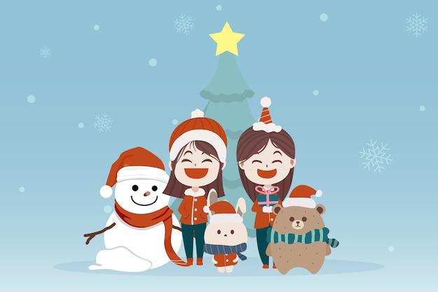 キャラクター漫画かわいいクリスマスの日、メリークリスマス新年あけましておめでとうございます、サンタの子供と動物、クリスマスツリースノーフレークウサギクマのイラスト
