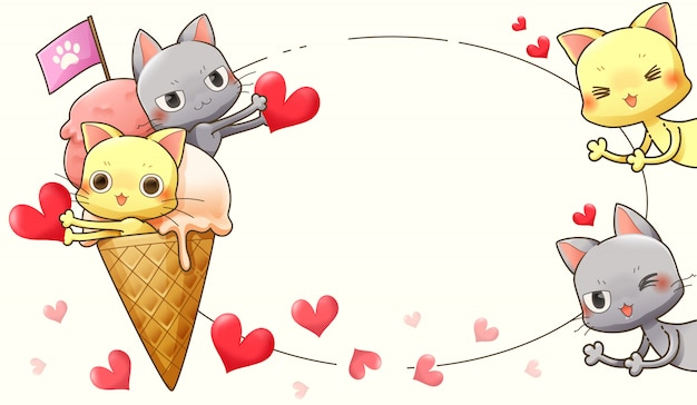 Character cartoon design of cat, ice cream and heart-vector