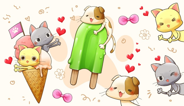 Character cartoon design of cute cat in love – vector