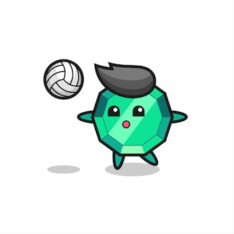 Character cartoon of emerald gemstone is playing volleyball , cute style design for t shirt, sticker, logo element