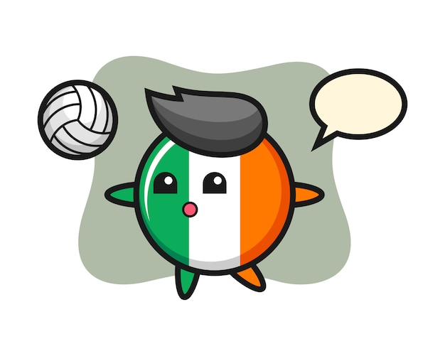 Character cartoon of ireland flag badge is playing volleyball