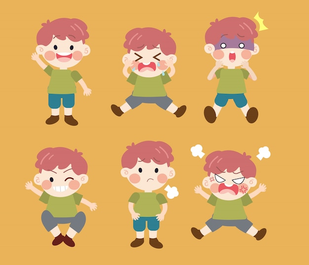 Character cartoon kid with emotions