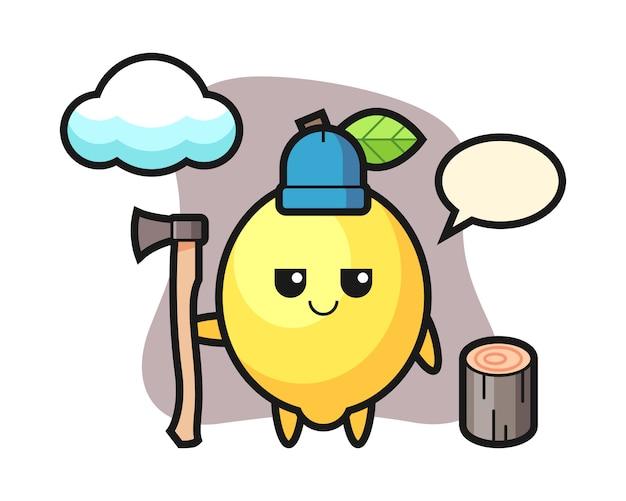 Character cartoon of lemon as a woodcutter