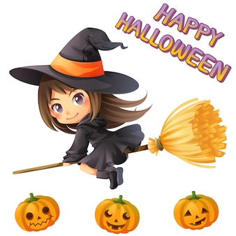 Character cartoon of little witch with pumpkin and font