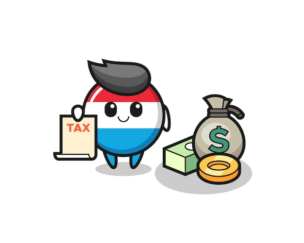 Character cartoon of luxembourg flag badge as a accountant , cute style design for t shirt, sticker, logo element