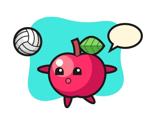 Персонаж мультфильма яблоко играет в волейбол