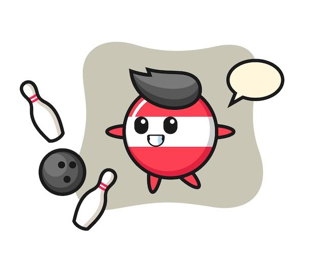 オーストリアの旗バッジのキャラクター漫画がボウリングをしている