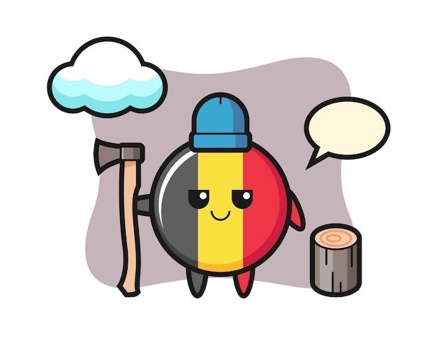 Персонаж мультфильма значка флага бельгии как дровосек