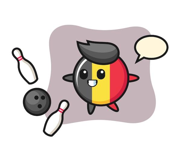 ベルギー国旗バッジのキャラクター漫画がボウリングをしている