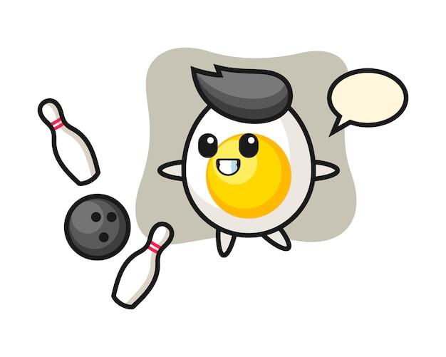 삶은 계란의 캐릭터 만화는 볼링을 재생합니다