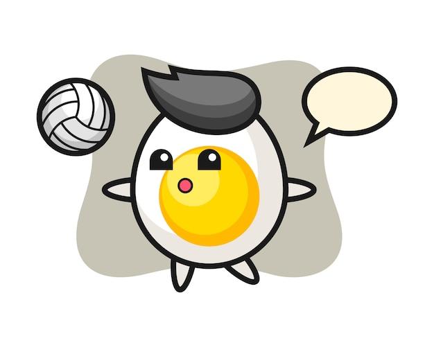 Персонаж мультфильма из вареного яйца играет в волейбол