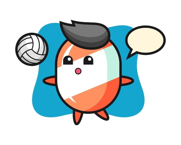 Персонаж мультфильма из конфет играет в волейбол