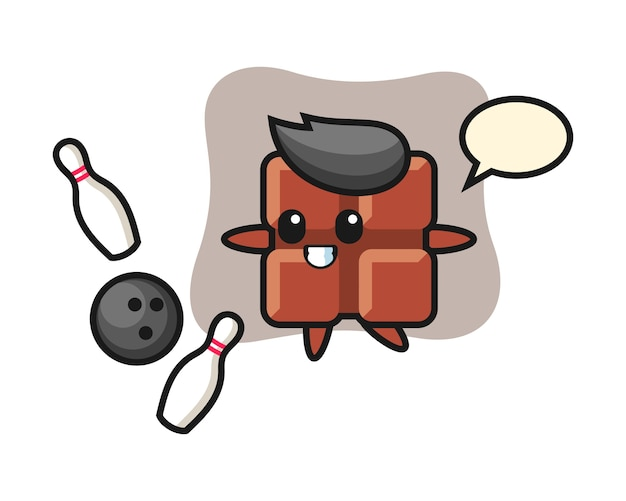 チョコレートバーのキャラクター漫画がボーリング、キュートなカワイイスタイルで遊んでいます。
