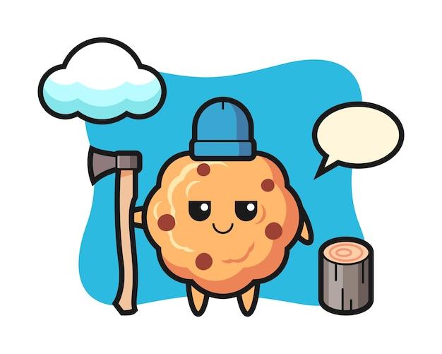 Персонаж мультфильма шоколадного печенья как дровосек