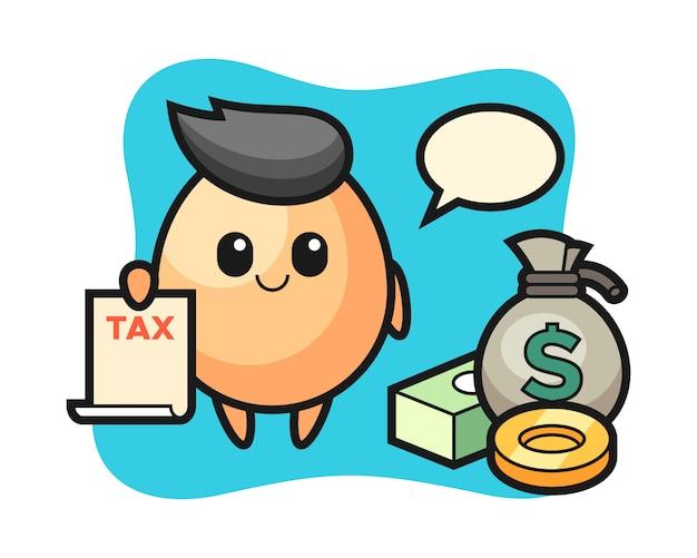 Персонаж мультфильма из яйца в качестве бухгалтера, милый дизайн стиля для футболки, стикера, логотипа