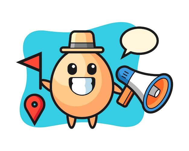 ツアーガイドとしての卵のキャラクター漫画、tシャツ、ステッカー、ロゴ要素のかわいいスタイルのデザイン