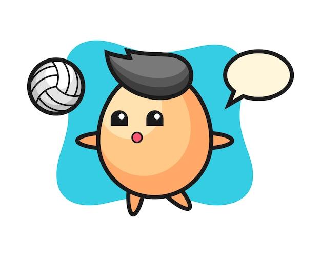 Персонаж мультфильма из яйца играет в волейбол, милый дизайн стиля для футболки, стикер, элемент логотипа