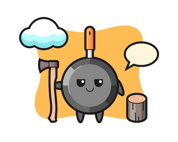 Персонаж мультфильма сковороды как дровосек
