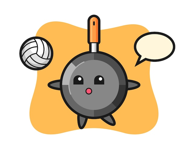 Мультяшный персонаж сковороды играет в волейбол