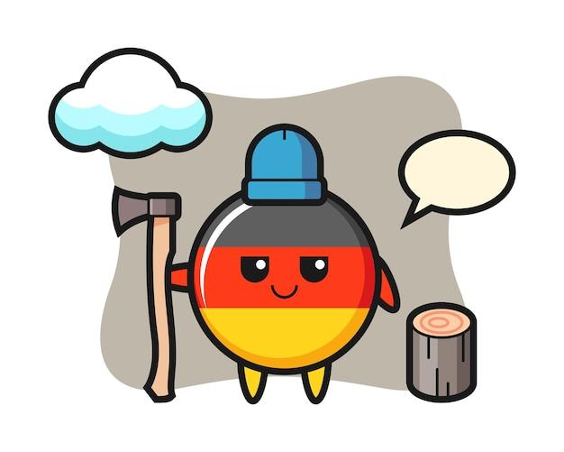 Персонаж мультфильма значка флага германии в качестве дровосека
