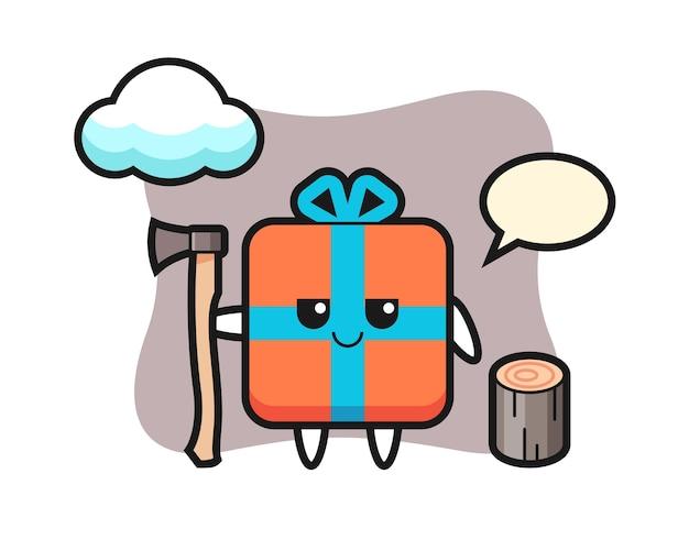 Персонаж мультфильма подарочной коробки как дровосек