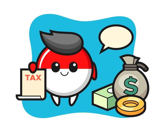 Персонаж мультфильма значка флага индонезии в качестве бухгалтера