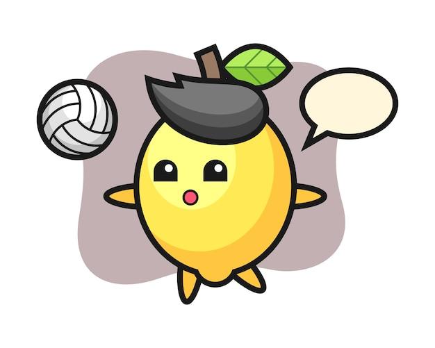 Персонаж мультфильма лимона играет в волейбол