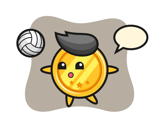 메달의 캐릭터 만화는 배구를하고있다