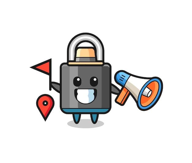 여행 가이드로서의 자물쇠의 캐릭터 만화, 티셔츠, 스티커, 로고 요소를 위한 귀여운 스타일 디자인