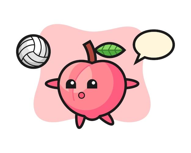 Персонаж мультфильма персика играет в волейбол, симпатичный дизайн стиля для футболки