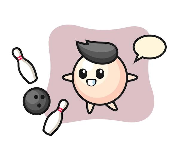 真珠のキャラクター漫画がボウリングをしている