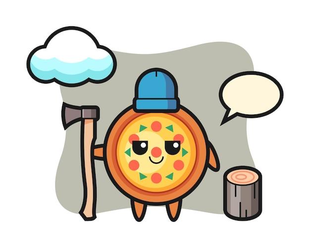 Персонаж мультфильма пиццы как дровосек
